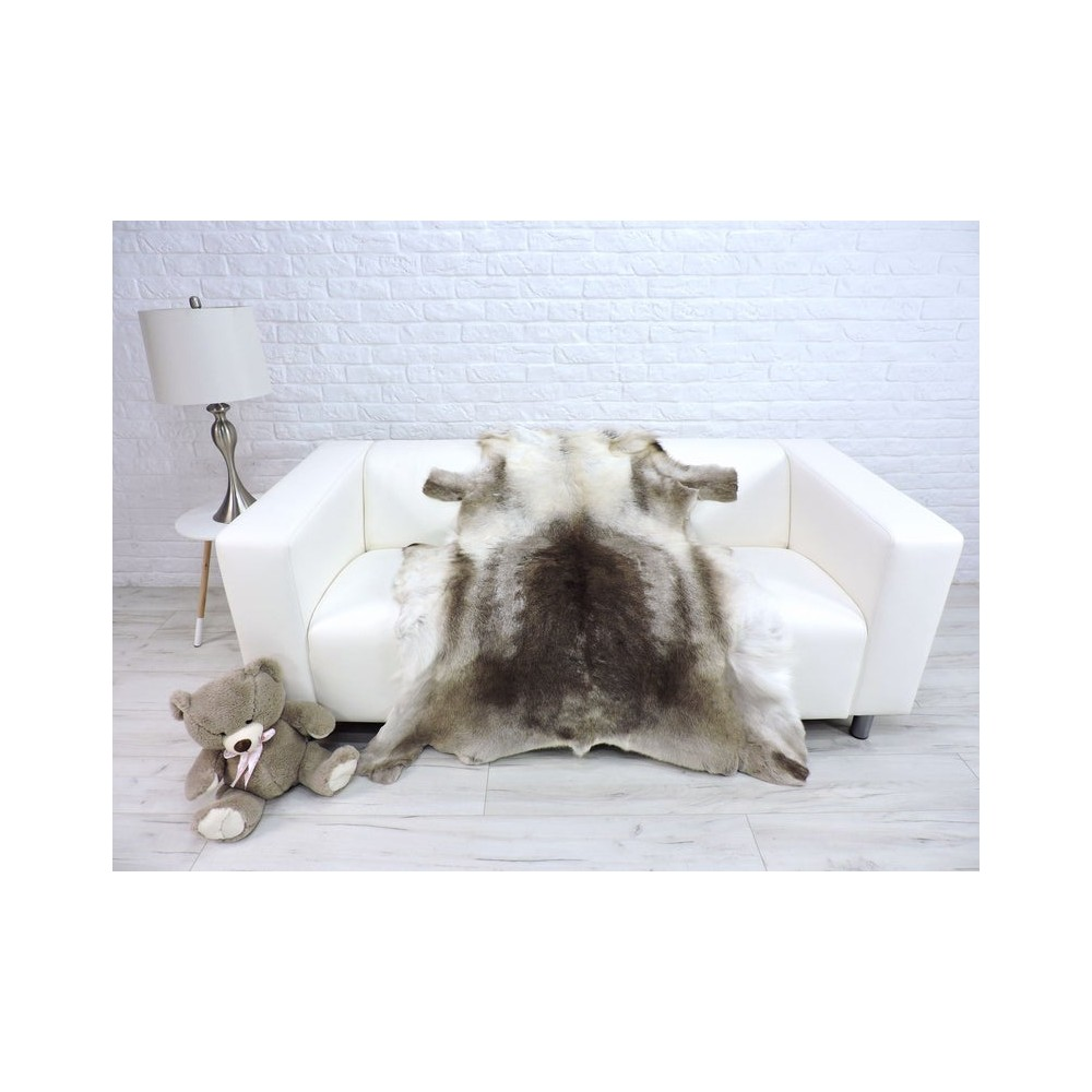 Luxury real silver fox fur throw blanket 044
