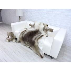 Luxury real silver fox fur throw blanket 044