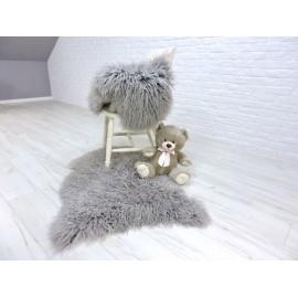 Luxury real llama curly fur throw blanket 076