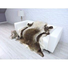 Amazing genuine raccoon throw blanket grey and beige 111