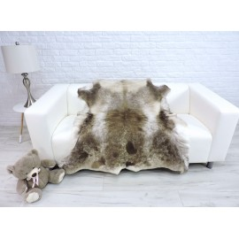 Luxury genuine fox fur throw blanket dyed powder pink colour 120