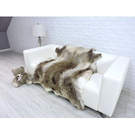 Luxury genuine fox fur throw blanket dyed beige colour 119