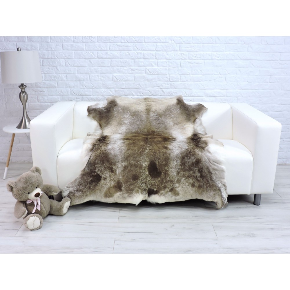 Luxury genuine fox fur throw blanket dyed royal blue & white 118