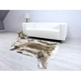Luxury genuine fox fur throw blanket dyed black & light...