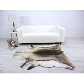 Luxury genuine fox fur throw blanket dyed royal blue & white 118