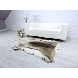 Luxury genuine fox fur throw blanket dyed pink and white colour 130
