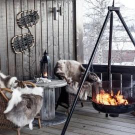 Luxury genuine fox fur throw blanket dyed beige colour 119