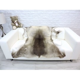 Luxury genuine fox fur throw blanket dyed black & purple snow top colour 128