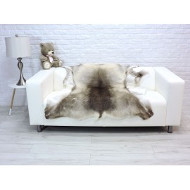 Luxury genuine silver fox fur paws throw blanket 131