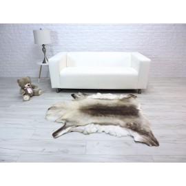 Luxury genuine fox fur throw blanket dyed black & light blue 117