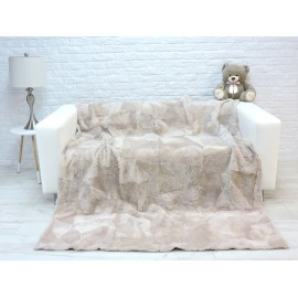 Genuine Italian lambskin fur fleece throw blanket
