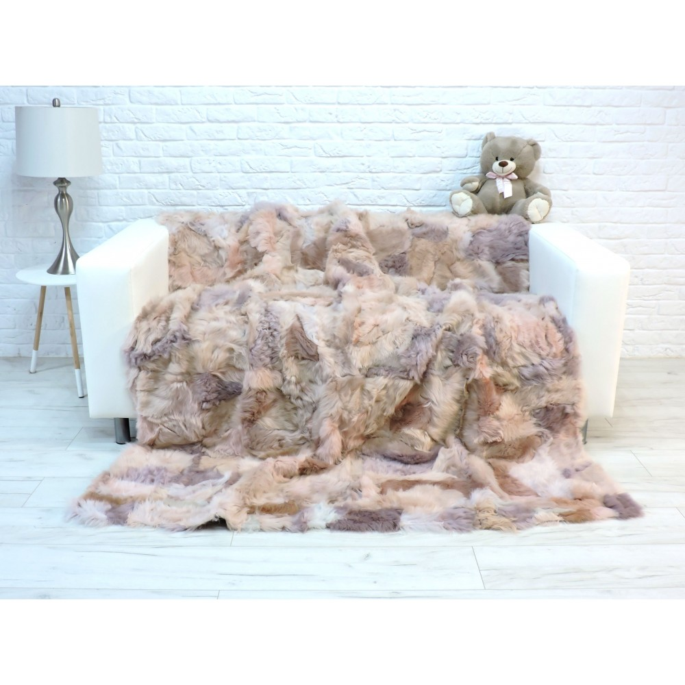 Luxury genuine silver fox fur throw blanket 237