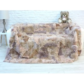 Genuine rabbit fur throw natural beige brown 235