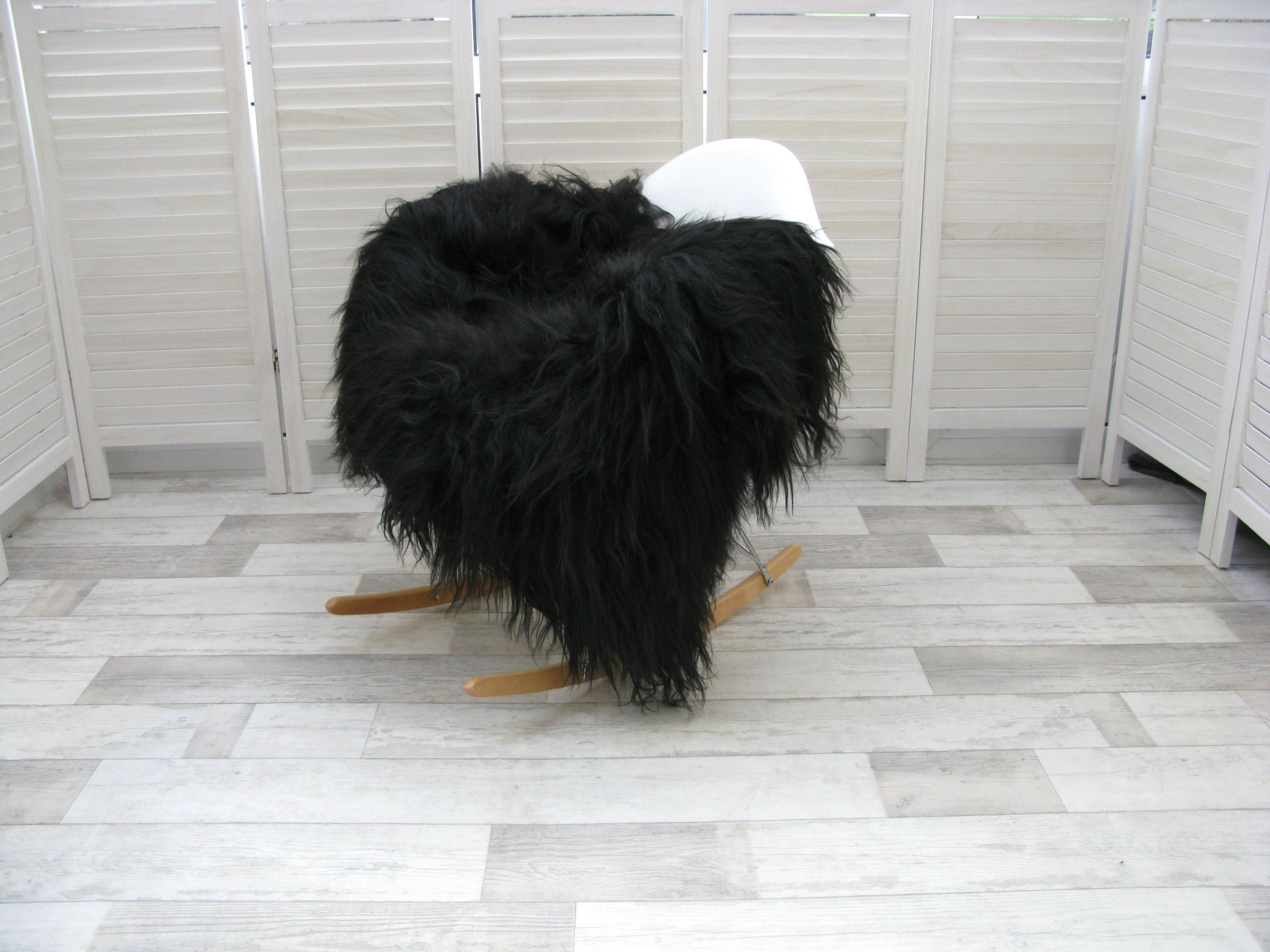 tapis en peau de mouton islandais d 39 origine rare unique naturelle couleur noire ebay. Black Bedroom Furniture Sets. Home Design Ideas
